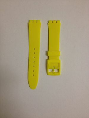 17mm (20mm) Resin Watch Strap Yellow for Swatch Watches Free P&P