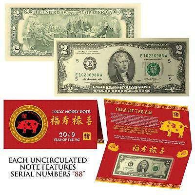 2019 Lunar Chinese New YEAR of the PIG Lucky U.S. $2 Bill w/ Red Folder - S/N 88