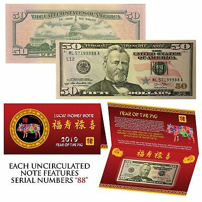 2019 Lunar Chinese New YEAR of the PIG Lucky US $50 Bill w/ Red Folder - S/N 88