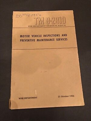 WWII 1943 Motor Vehicle Inspections & Preventive Maintenance Army Manual Book