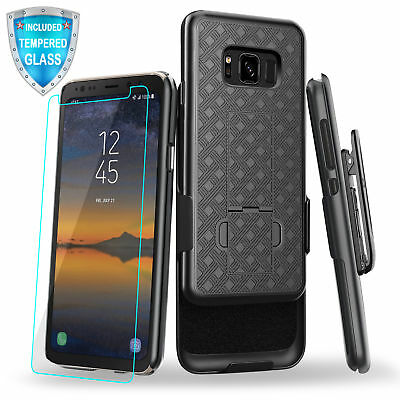 For Samsung Galaxy S8 Active Slim Belt Clip Kickstand Case with Tempered Glass