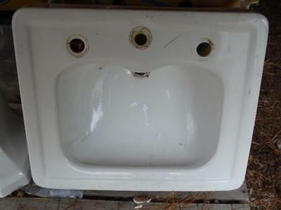 Vintage 1940s TIFFIN Standard WHITE Pedestal Sink retro deco PICK UP from 14804