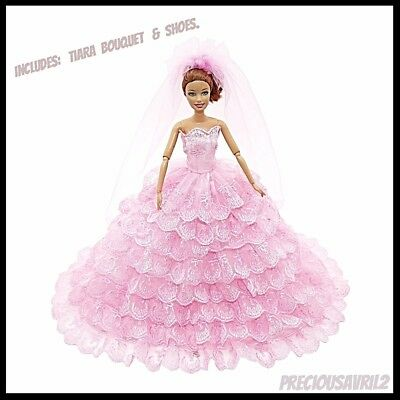 Brand new Barbie doll clothes outfit princess wedding dress pink bridal gown