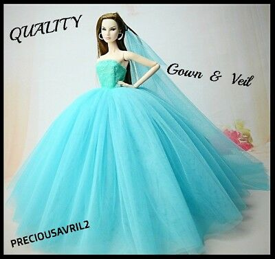 New Barbie doll clothes outfit princess wedding dress gown turquoise net dress.