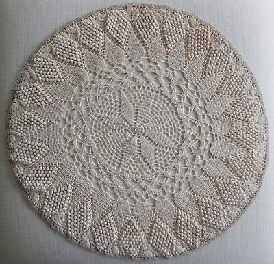"Vintage 21"" Handmade Round Large Ivory Crocheted Cotton Doily, Tablecloth Topper"