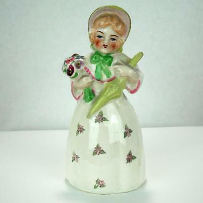 Bone China Victorian Lady Bell Woman with Flowers Umbrella Hat Figurine Vintage