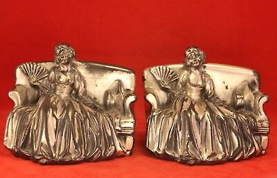 "Pair Vintage JENNINGS BROTHERS 4½"" Metal ART NOUVEAU Bookends 1595 - Seated Lady"