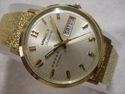Vintage GOLD FD lg NOS antique Art Deco LONGINES 5-STAR ADMIRAL AUTOMATIC watch