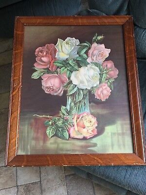 "Lovely Antique 22 1/2 x 18 1/2 Print in Wood Frame titled "" PINK ROSES "" Roses i"