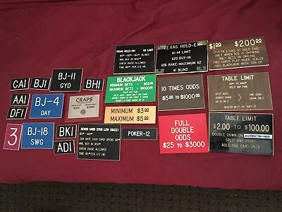 Lot Of 23 Casino Table Limit Min Max Signs Craps Poker And Others All Mixed Sign