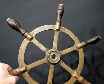 "ANTIQUE Vintage BRONZE Nautical Boat 15"" SHIPS WHEEL w/ WOODEN HANDLES / Brass"