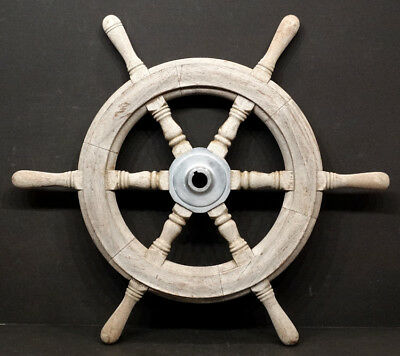 "ANTIQUE Vintage WOODEN Nautical SAILBOAT Boat 24"" WOOD SHIPS WHEEL"