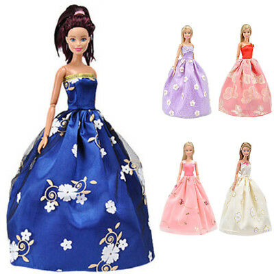 Doll Dress Clothes For Barbie Dolls Party Prom Gown Dresses 5pcs Set Gift Xmas