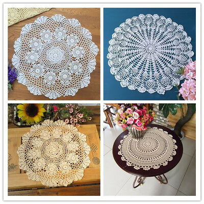 """Vintage Round Crochet Lace Tablecloth Cotton Table Cloth Cover Topper 20"""" Floral"""