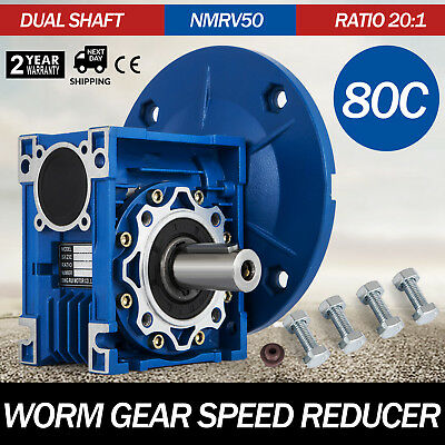 NMRV050 Worm Gear 20:1 80C Speed Reducer Gearbox Dual Output Shaft FREE WARRANTY