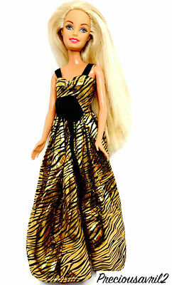 Brand new Barbie doll clothes outfit princess wedding dress gold & black dress.