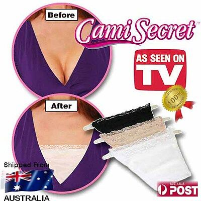 New Cami Secret Pack of 3 As Seen On TV Modesty Panels - Bra Lace Camisoles