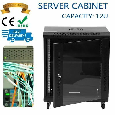 12U Network Data Rack With Cooling Fan Wall Mounted Server Cabinet QU
