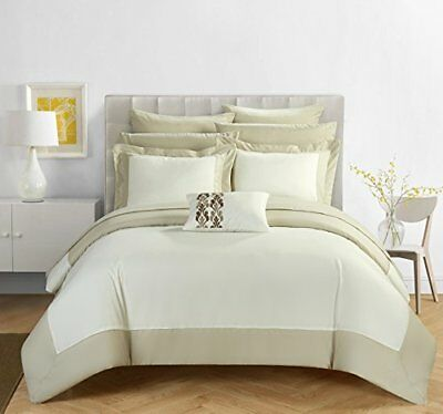 Chic Home Design Llc Peninsula Comforter Set Beige Twin 10 Piece