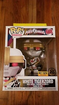 """Funko Pop TV #668 6"""" White Tigerzord Power Rangers Hot Topic Exclusive In Hand"""