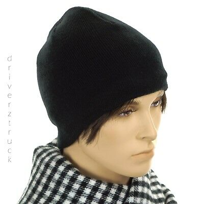 7c80fb377da VAN HEUSEN Men s Solid BLACK BEANIE HAT with FLEECE LINING Winter KNIT CAP