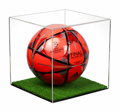 Full Size Soccer Ball Clear Acrylic Display Case with Turf Floor (A007-CTB)