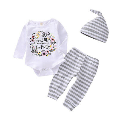 UK Stock Newborn Outfit Kid Baby Girl Rompers Leggings Playsuit Clothes Bodysuit