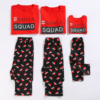 US Family Matching Christmas SQUAD Pajamas Sets Women Kids Sleepwear Nightwear