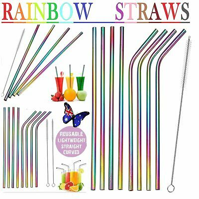 Reusable Rainbow Stainless Steel Metal Drinking Straw Straws Cleaning Brush S4