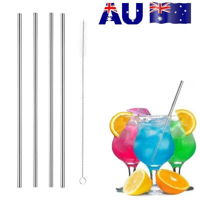 4x Stainless Steel Metal Drinking Straw Straws Bent Reusable Washable+1 Brush S4