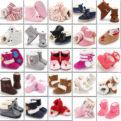 UK Winter Toddler Baby Boy Girl Warm Snow Boots Kid Soft Sole Slipper Crib Shoes