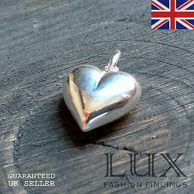 Sterling Silver 925 Hollow Heart Pendant Charm Love Jewellery Making UK Sale
