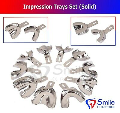 Ehricke Dental Impression Tray Solid Set of 10 XS,S,M,L,XL Upper/Lower Smile UK