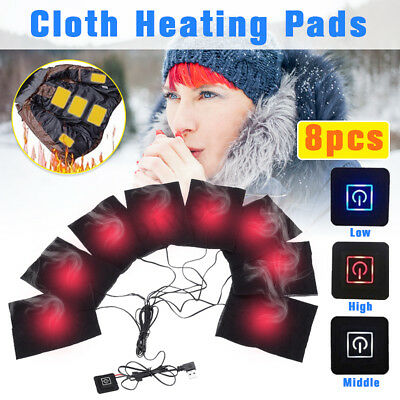 8Pcs USB Pads Electric Heater Heating Warmer Vest Jacket Thermal Motorcycle Warm