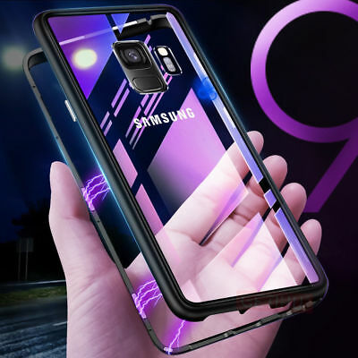 Magnetic Adsorption Metal Tempered Glass Case Cover For Samsung S8 S9 Note 8 9