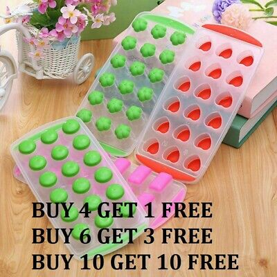 New Ice Cube Tray Easy Pop Out Maker Silicone/Plastic Top Mould Fast Dispatch