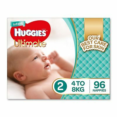 Huggies Ultimate Nappies, Unisex, Size 2 Infant (4-8kg), 96 Count FREE DELIVERY