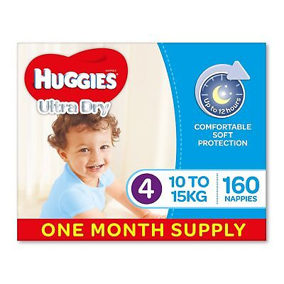 Huggies Ultra Dry Nappies, Boys Size 4 Toddler 10-15kg 160 Count, 1 Month Supply