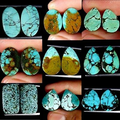 100% Natural Tibet Turquoise Oval, Pear, Cushion, Pair Collection Loose Gemstone