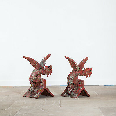 Two handmade painted Terracotta Dragon ridge tiles. Mid to late 20th Century.