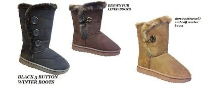 NEW LADIES WIDE CALF WINTER FUR LINED SNUGG WIDE GRIP SOLE BOOTS WOMEN WIDE SIZE