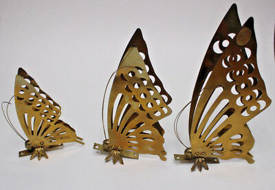 Vintage Brass Butterfly Set Three Wall Decor Paperweights 70s Modern Decor