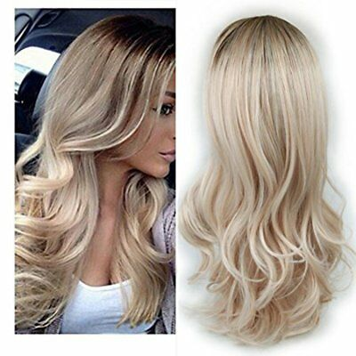 Handmade Wig For Women Blonde Wave Heat Resistant Fiber Synthetic Hair Wigs O5