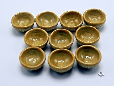 Dollhouse miniature ceramic decor collectible handmade Celadon Water bowl 10 pcs