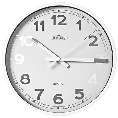 CHERMOND large metal wall clock 35cm / 14'' white dial, classic design