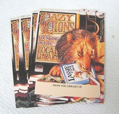Bookplates 15 Pc Lazy Lion Lounging in Local Library 1986 Abrams Book Plate T91