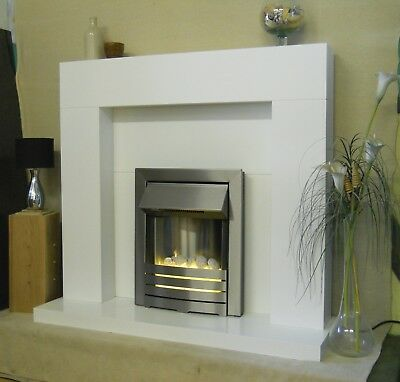 Electric Fire White Fireplace Surround Pebbles Modern Silver Led 2kw Bnib