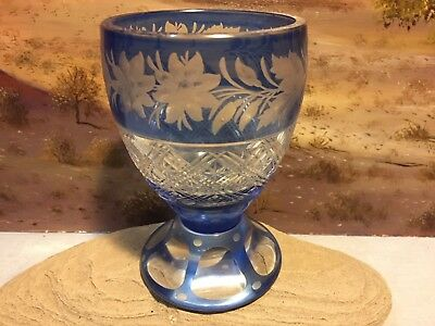 Aquamarine Azure Azzuro Blue Cased Cut-To-Clear Etched Goblet, Val St LAMBERT
