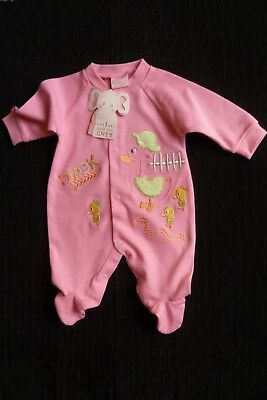 Baby clothes GIRL newborn 0-1m mid-pink ducks quality babygrow 2nd item postfree