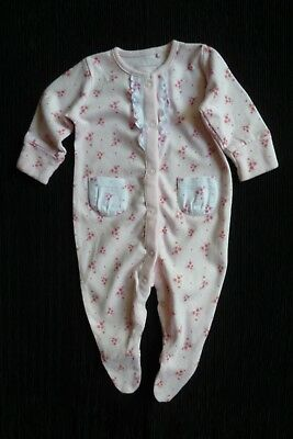Baby clothes GIRL 0-3m NEW!NEXT pink floral quality babygrow white frill,pockets